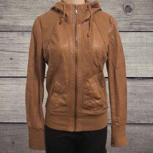 Dynamite Faux Leather Jacket w/ Hood
